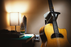 Things in My Room (dejankrsmanovic) Tags: acoustic guitar gypsy corner bedroom room interior indoor object still life lamp light furniture home lifestyle concept conceptual shelve various hole string wood wooden stand wall thing stuff music musical equipment retro vintage body neck