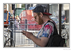 Smoke Break (Seven_Wishes) Tags: newcastleupontyne canoneosm5 jo outdoor photoborder dof depthoffield streetphotography candid portrait streetportrait people man smoker ginger beard cap hat sunglasses malesmoker cigarette edoliverphotography 2018 canonefm18150mmf3563is views5k