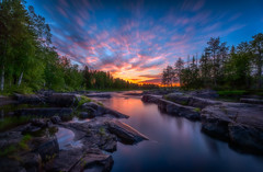 Koiteli sunset (M.T.L Photography) Tags: koitelisunset riverkiiminkijoki kiiminki suomi mikkoleinonencom mtlphotography water tree forest rocks stream river sky clouds sun sunset colors bright summer night nikond810