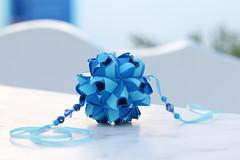 Thalassa (ronatka) Tags: kusudama modularorigami mashaathanasiadi blue rectangle rectangle1sqrt2 ef50mmf14usm birthday gift withbeads foldedwhentraveling