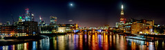Night view of River Thames (EricMakPhotography) Tags: panorama bridge london shard city moon thames hdr river town downtown cityscape longexposure light