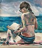 Reading on the beach (Captain Wakefield) Tags: sitting reading art abstract figurative sea beach lady woman expressionist impressionist painting burton samuel