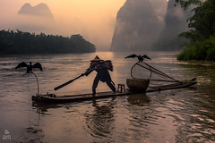 China (capiotti) Tags: red yangshuo guilin cormorant southeastasia south southchina china chinese river water fisherman fishing mountains