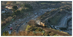 Is it Autumn yet Dad??? (david.hayes77) Tags: northwales wales northwalesexpressway 2017 3s71 class56 grid colas 56105 56113 rhtt railheadtreatmenttrain oldcolwyn autumn dualcarriageway seaside coast