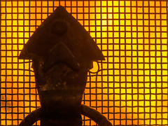 Mesh fire screen (mikeplonk) Tags: macromondays mesh closeup macro nikon d5100 40mm micro fire flames firescreen fireguard handle abstract metal
