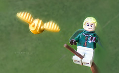 Malfoy Chases the Snitch (that_brick_guy) Tags: harrypotter harry potter dracomalfoy draco malfoy legoharrypotter lego legominifigure legominifig minifigure minifig quidditch wizard wizards wizardingworld wizarding world toy photography toyphotography dslr nikon d7200 nikkor 18g prime lens primelens snitch goldensnitch broomstick game pitch country countryside magic closeup close up macro macrophotography