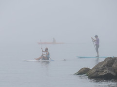 Fogbound (BruceK) Tags: august2018 fog sup kayak toronto beach beaches