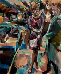 At the busy station (Captain Wakefield) Tags: people busy burton samuel figurative abstract expressionist art train station impressionist woman painting