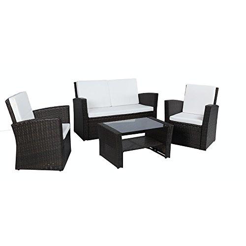 Baner Garden (N68) 4 Pieces Outdoor Furniture Complete Patio Wicker Rattan Garden Set, Full, Black Review