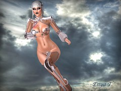 Quicker Silver (Enya T.) Tags: enyat avatar secondlife clouds sky silver future futuristic portrait running