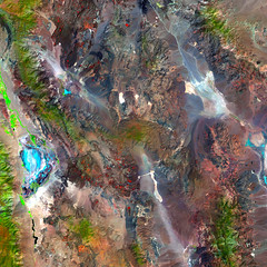 Death Valley in the Summer, variant (sjrankin) Tags: 10august2018 edited esa europeanspaceagency sentinel2 california northerncalifornia mojavedesert deathvalley owensvalley panamintvalley owenslake mountains valleys greatbasin l1ct11smaa01632620180807t183833