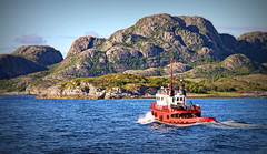 The red boat (yorkiemimi) Tags: norway norwegen boat ship water coast mountain scenery nature sea