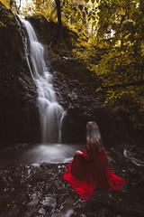 Tom Gill Waterfall (Manadh) Tags: manadh pentax k3 sigma landscape lakedistrict cumbria waterfall tomgill portrait girl woman reddress whitehair