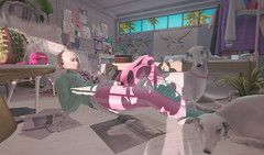 076. A Not So Sad Song About Love. (fashionmaul) Tags: sl secondlife second life virtual fashion clothes boy boi femboy femboi androgynous men male pink teal retro aesthetic white dog california sun sleepy tired pastel