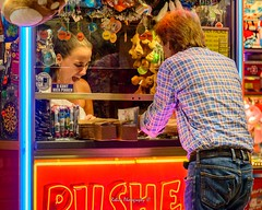 Pusher (Robica Photography) Tags: robicaphotography d3200 2018 streetphotography straatfotografie tilburg people face evening lights attraction funfair fair amusement detilburgsekermis woman man colourful pusher amazement flabbergasted