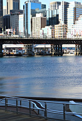 2018 Sydney: Darling Harbour (dominotic) Tags: 2018 darlingharbour pyrmontbridge cocklebay urban history architecture bluesky boats waterway water flag banner sydneyskyline maritime sydney nsw australia newsouthwales