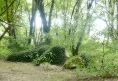 The Sleeping Lady (blueachilles) Tags: lostgardensofheligan sleepinglady mudmaid rodtookthis htmt tree green sculpture