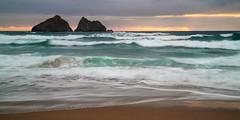Emerald Waves, Holywell Bay (Andrew Hocking Photography) Tags: holywell holywellbay corwnall seascape coast coastal sea ocean water slowshutter kernow seaside emerald green rolling waves sunset golden storm clouds explored inexplore explore