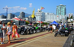 Bikes on the pier (Trinimusic2008 -blessings) Tags: trinimusic2008 judymeikle nature northvancouver candid streetphotography summer july 2018 bc canada parkonthepierconceptbikeshow sea mountains sky motorcycles tourists buildings benches pier crane water ocean sonydschx80 vancouver