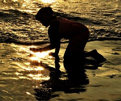 finding treasure (moonjazz) Tags: beach gold looking ocean exploring learning light play sand children california water shell hunter girl vacation sandiego silhouette canon moonjazz best shine treasure camera sun bright glimmer hands hand digging wonder seashore