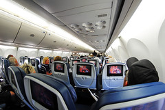 Delta 757 Cabin (Infinity & Beyond Photography) Tags: delta air lines airlines boeing 757 b757 cabin seats seatbacks tvs fisheye 8mm samyang