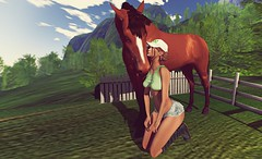 Best Friend (kare Karas) Tags: woman lady femme girl girly sweet cute beauty pretty outdoors nature horse virtual avatar secondlife game fun sexy sensual seduce sassy event mesh bento colors hud top short boots poses style soul august summer sexyprincess feral fashiowlposes theliaisoncollaborative