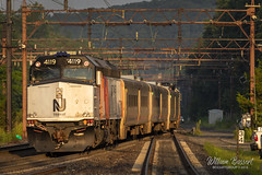 Early morning golden sun @ Denville with train #871 (bozartproductions) Tags: denville railroad f40 golden sun train new jersey transit locomotive 4119 morris county tracks switch engine diesel njt montclairboonton line essex 1981