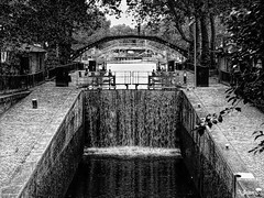 ... (Jean S..) Tags: canal paris water river bridge bw blackandwhite monochrome waterfall trees