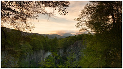 View from Hodge Close Quarry, Lake District (S.R.Murphy) Tags: august2018 lakedistrict landscape 16x9 hodgeclosequarry fujifilmxt2 fujifilmxf1855mm leefilters lee06ndgrad england evening eveninglight sunset cumbria tree rock sky mountain forest wood
