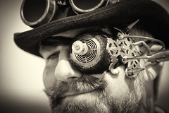 Portrait from the Whitby Steampunk Weekend IV - Days Like These (Gordon.A) Tags: yorkshire whitby steampunk whitbysteampunkweekend iv dayslikethese wsw july 2018 convivial creative costume hat goggles culture lifestyle style fashion man people street festival event eventphotography amateur streetphotography pose posed portrait blackandwhite bnw mono monochrome monochromatic naturallight naturallightportrait digital canon eos 750d sigma sigma50100mmf18dc