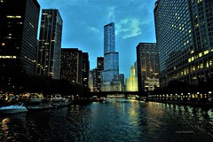 Chicago River at Dusk (Anton Shomali - Thank you for over 1 million views) Tags: chicago river dusk chicagoriveratdusk chicagoriver lake michigan lakemichigan downton trump tower trumptower water night lights reflections sky boats