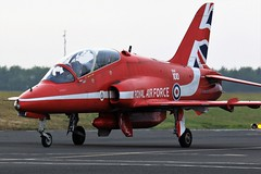 XX219 RED ARROWS Bae HAWK NEWCASTLE AIPORT (toowoomba surfer) Tags: jet aeroplane trainer aviation aircraft raf ncl egnt