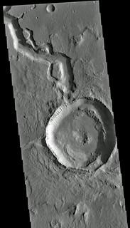 Hephaestus Fossae With Drained Crater