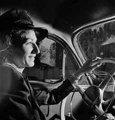 Training women to operate buses and taxicabs, 1942. Due to the bulk of American men being slated for the armed forces, women are stepping into jobs normally performed by men. (polkbritton) Tags: 1940s andreasfeininger fsaowi libraryofcongresscollections wwiihomefront vintagefashion worldwarii vintagecars