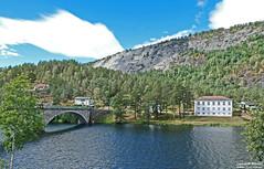 From Åmli (Norway) (larseriksfoto) Tags: åmli bro bridge fjell mountain tz90 sky himmel moln clouds älv vatten water river