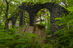 Lothlorien (Iron Works Ruins) (SunnyDazzled) Tags: ruins sterlinglake ironworks park forest glow leaves green walls arched windows history mining iron production ore magic newyork cloudy evening rain overgrown decay