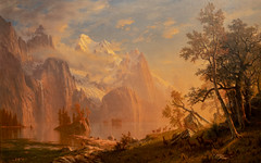 Albert Bierstadt, Western Landscape, Mount Whitney, 1869 (Dave Landry) Tags: artexhibit oclr paintingsflickr northamerica flickr newark landscapes newjersey places unitedstates essexcounty alpsandrockesexhibit newarkmuseum america us usa unitedstatesofamerica