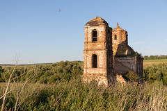 Abandoned Church. (Oleg.A) Tags: grass landscape sunny ancient penzaregion russia church nature old brick ruined outdoor rural materials dome building chapelle countryside summer abandoned tower exterior evening forest orthodox sunset sky cross wall village architecture field chapel landscapes outdoors napolnyyvyas penzenskayaoblast ru