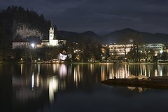 0807 The Night Reflections II (Hrvoje Simich - gaZZda) Tags: landscape waterscape outdoors noperson longexposure pond buildings church reflections clouds lights travel bled slovenia europe nikon nikond750 nikkor283003556 gazzda hrvojesimich