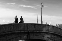 The Bridge for two - Мост для двоих (Valery Parshin) Tags: russia saintpetersburg canoneos70d sigma1750mmf28exdcoshsm two monochrome bridge lamp blackandwhite
