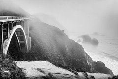 Fog at Rock Creek Historic Bridge (allentimothy1947) Tags: bigsur coastalhighway monetereycounty breakers cliffs cow fog grazing hwy1 land landwater landscape ocean pacificocean reopened rocks sea shore sky waves rockcreekbridge historic 1932 arch architecture