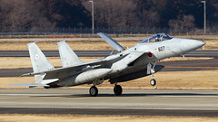 JASDF F-15J Eagle. (spencer_wilmot) Tags: f15 eagle f15eagle jasdf japan hyakuri ibr ibrrjah ibarakiairport ramp runway taxiway twinfin twin fighter fighterjet militaryaviation combataircraft airbrake landinggear landing plane airbase aviation aircraft airplane airport arrival apron approach airforce mcdonnelldouglas f15j 827 grey jet recovery rtb