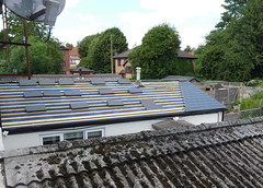 Slates going on (karenblakeman) Tags: caversham uk roof slates tiles satellitedish tree june 2018 reading berkshire
