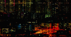 afraid of the dark.... (prole pinion) Tags: abstraction distortion surreal expressionist grunge futurist fantasy city dark night light color contrast layers layering burn photoshop