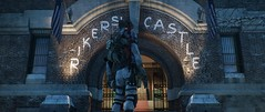 Rikers' Castle (Inter230407) Tags: thedivision tomclancy ubisoft 2016 2017 screenshot pc 219 emotes agent hunter mask new york time square massive photomode 18 2018 shade isac cinematic cinematictools hattiwatti art videogame brooklyn bridge watch pistol sunrise sunset night strada cielo neve persone edificio lightning effects flag usa division christmas danger city città auto incrocio insegna trees foschia fog