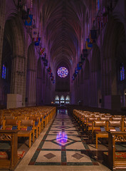 Washington National Cathedral (johngoucher) Tags: approved washingtonnationalcathedral architecture cathedral washingtondc sonyimages sonyalpha alphacollective architecturalphotography church gothicarchitecture ceiling room walls aisle centeraisle symmetry rosewindow stainedglasswindows stainedglass sanctuary light naturallight