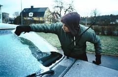 Frozen boy (josephine.natalie.katrin) Tags: analog cold winter fall autumn sweden småland frosty mist ice crispy höst vinter sverige kallt boring boy car volvo frost olympus mju zoom 140 740 analogue