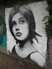 Mysterious Girl (Ian Robin Jackson) Tags: wallart aberdeen sony zeiss girl scotland scottish summer august beautiful art graffitti face faces women pretty