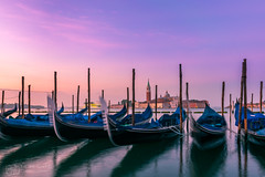 Venezia sunrise (figatz) Tags: venice venezia italy italia sunrise sun beautiful colourful boats gondolas travel tokina nikon 1120mm d5300 water europe summer photography long exposure early
