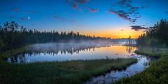 Nightless night in Taivalkoski (M.T.L Photography) Tags: summer night midsummer water trees mist fog mtlphotography mikkoleinonencom taivalkoski nightlessnight lapland grass moon sun bright yötönyö nikond810 panoramicphotography